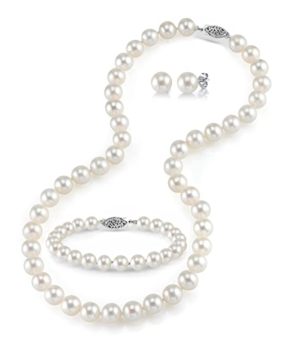 THE PEARL SOURCE 14K Gold Round White Freshwater Cultured Pearl Necklace, Bracelet & Earrings Set in 18