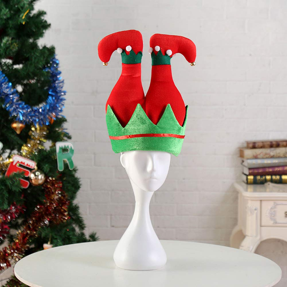 Christmas Elf Hat,3PCS Christmas Party Favors Christmas Slap Bracelets Santa Hats with Jingle Bells Funny Party Hats for Holiday Parties, Bar Crawls, Christmas Gatherings