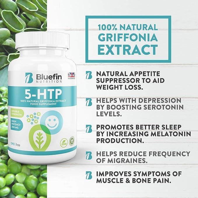 5-HTP - 200 mg - Doble Potencia Supresores del apetito de Bluefin Nutrition (180 Caps): Amazon.es: Salud y cuidado personal