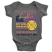My Dad Risks Baby Bodysuit, Firefighter's Daughter Cute Baby Bodysuit (6M, Baby Bodysuit - Dark Gray)