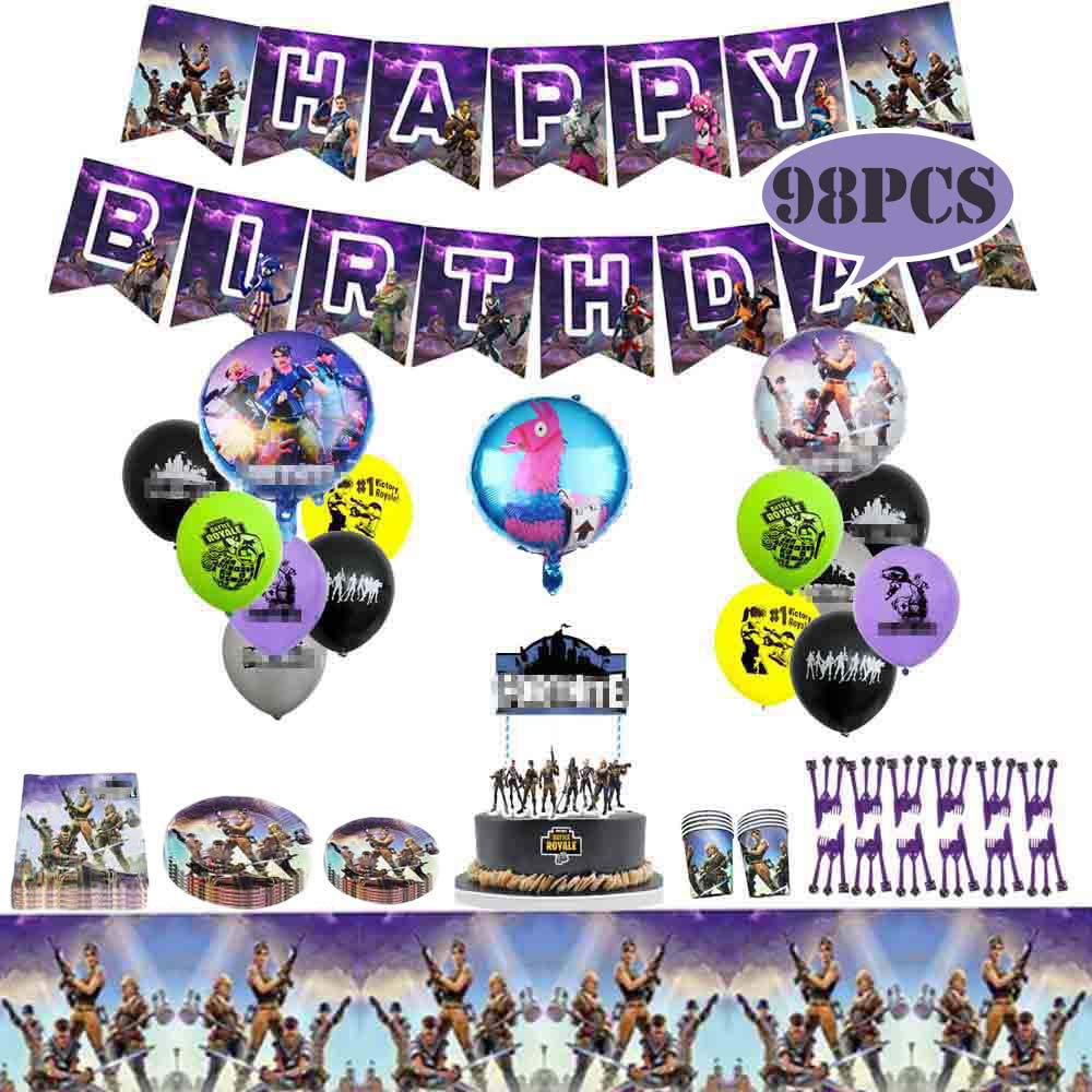 Fadesun Video Game Birthday Party Supplies and Decorations|Happy Birthday Banner|Cake Topper|Cake Cutter|Napkins|Plates|Cups|Utensils|Table Cloth |Latex Party Balloons|Foil Balloons/Game Party Favor by Fadesun