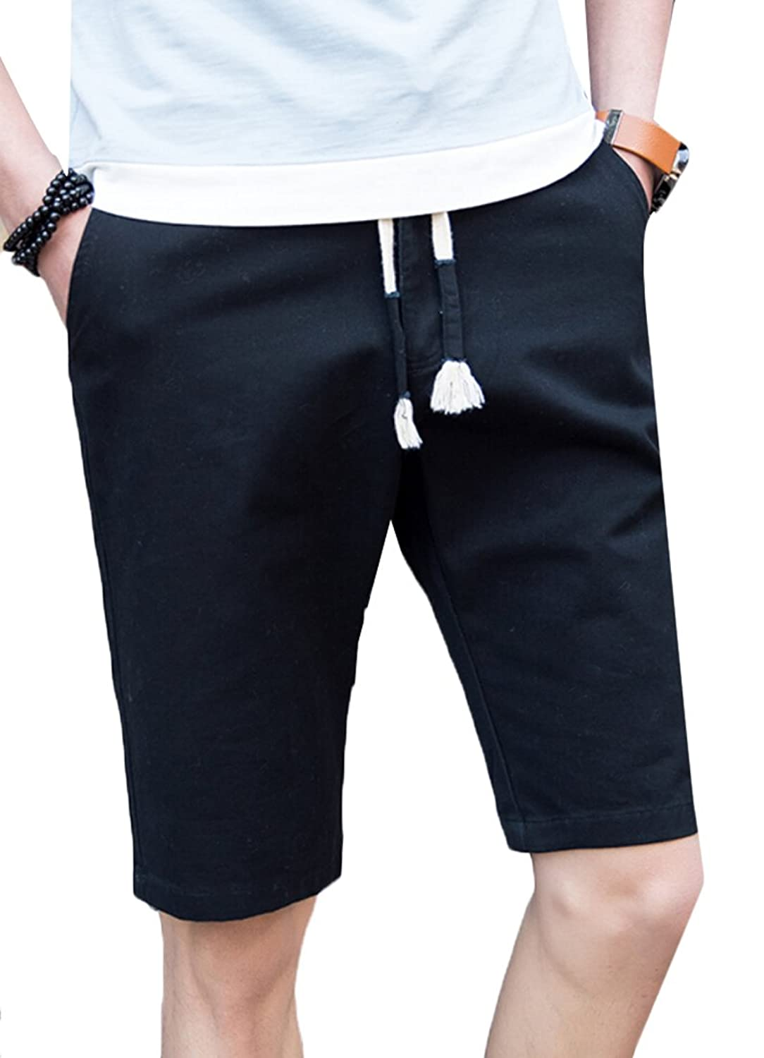 Acquaa Mens Junior Casual Cotton Slim Summer Shorts Pants