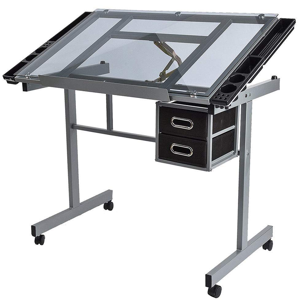 Drawing Desk Craft Station Drafting Table Tempered Glass Top Art Craft w/Wheels