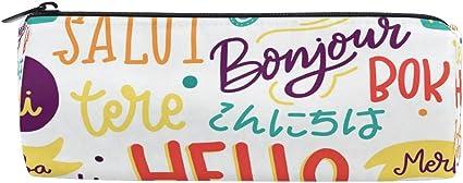 Hello Different Language - Estuche para lápices con cremallera, diseño de texto en inglés: Amazon.es: Oficina y papelería