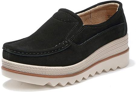 Gracosy Mocasines Cómodos Mujeres Zapatos de Cuña de Cuero de Gamuza Suave Toning Rocker Plataforma Oculta Cuñas Talón Zapatillas de Deporte Casual Zapatos Mocasines de Moda Zapatos de Conducción