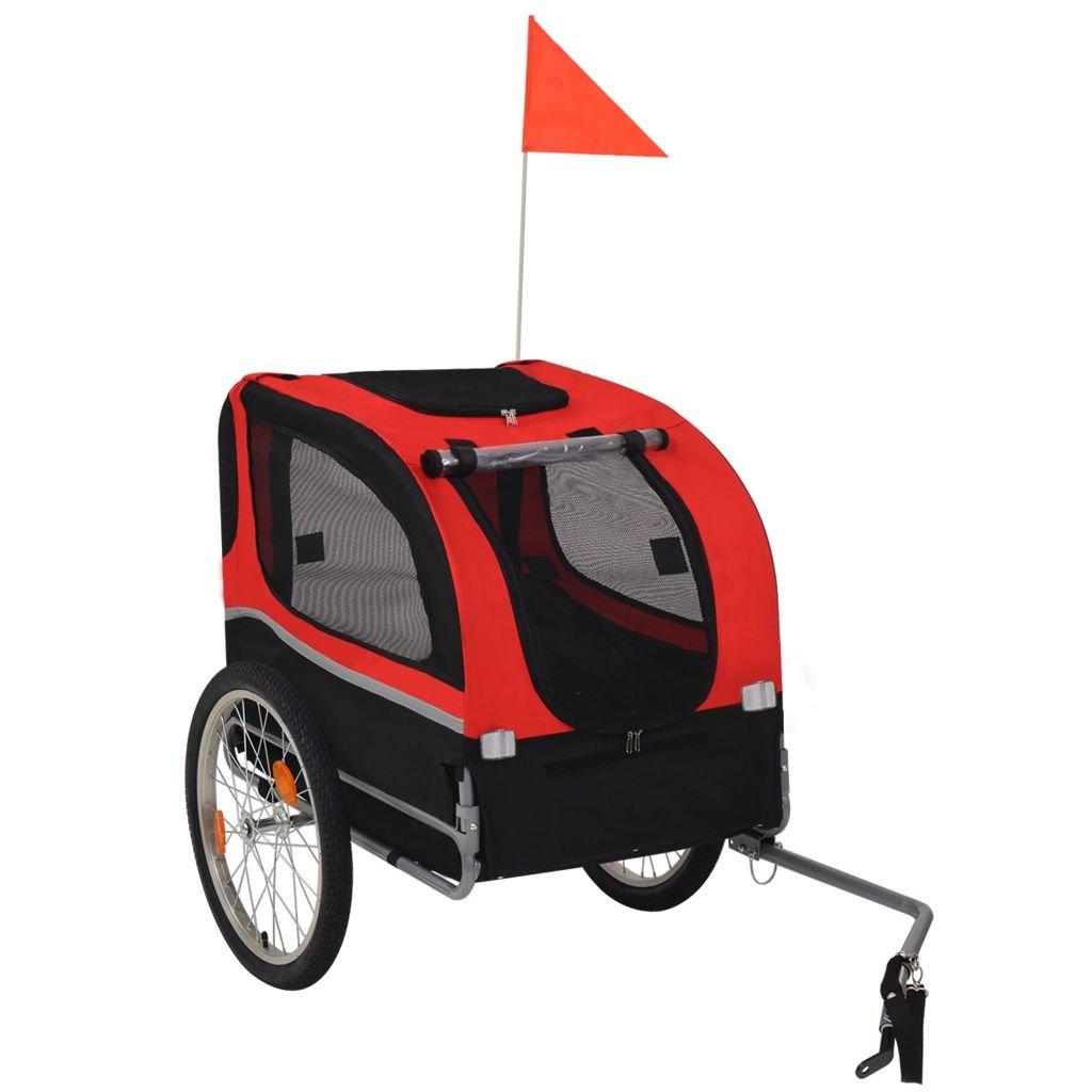 Festnight Fahrradanhänger für Hunde Rot und Schwarz