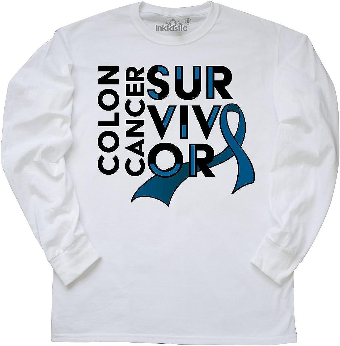 Amazon Com Inktastic Colon Cancer Survivor Dark Blue Ribbon Awareness Long Sleeve T Shirt Clothing