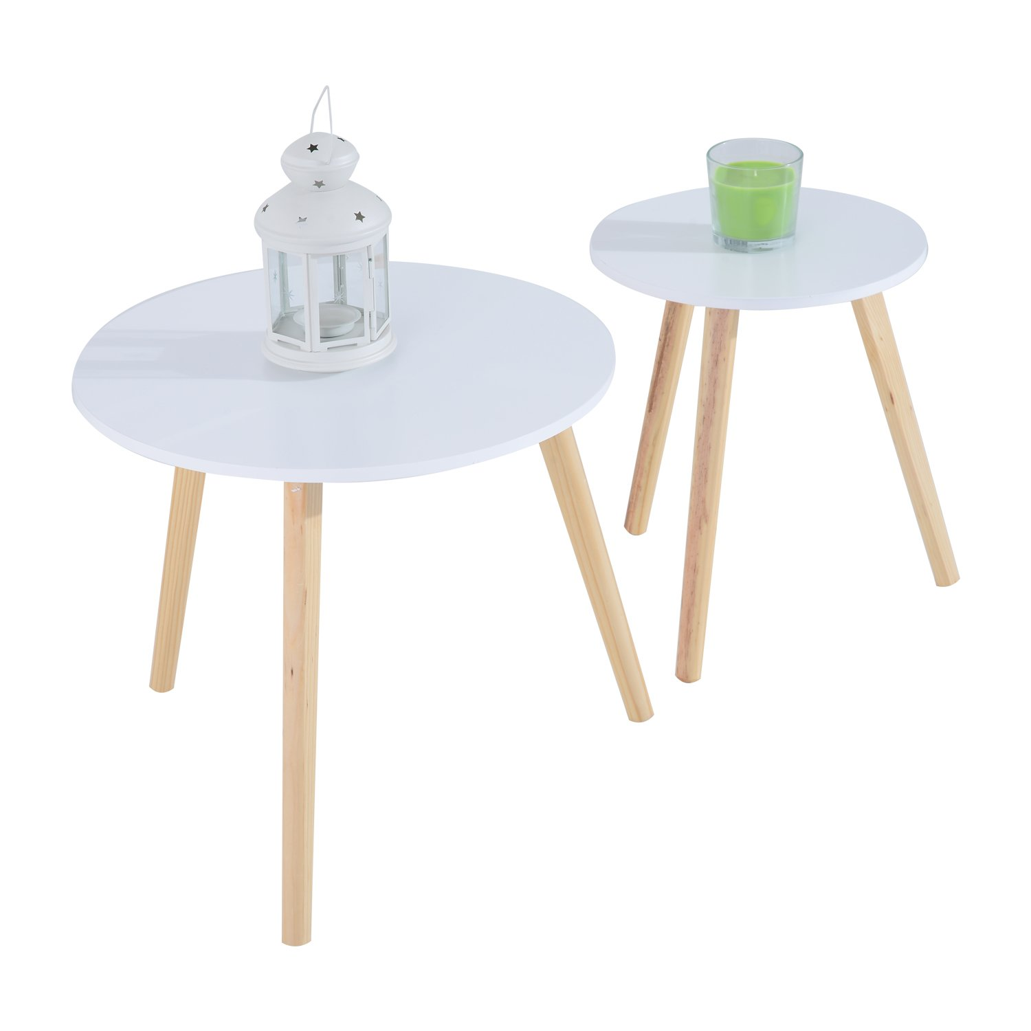HomCom 2pc Round Accent Side Table Set