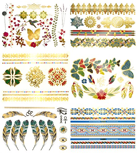 Metallic Temporary Tattoos - 75+ DIY Halloween Costume Tropical Boho Shimmer Color Tattoos – Feathers, Flowers, Arm Bands, Birds & More (Layla Collection)