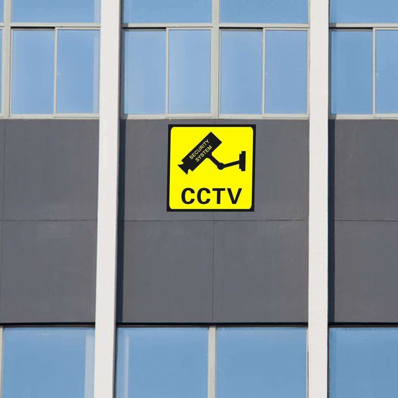 Amarillo JohnJohnsen Square CCTV Vigilancia Seguridad 24 Horas Monitor C/ámara Advertencia Pegatinas Se/ñal de Alerta Etiqueta de la Pared Impermeable Lables