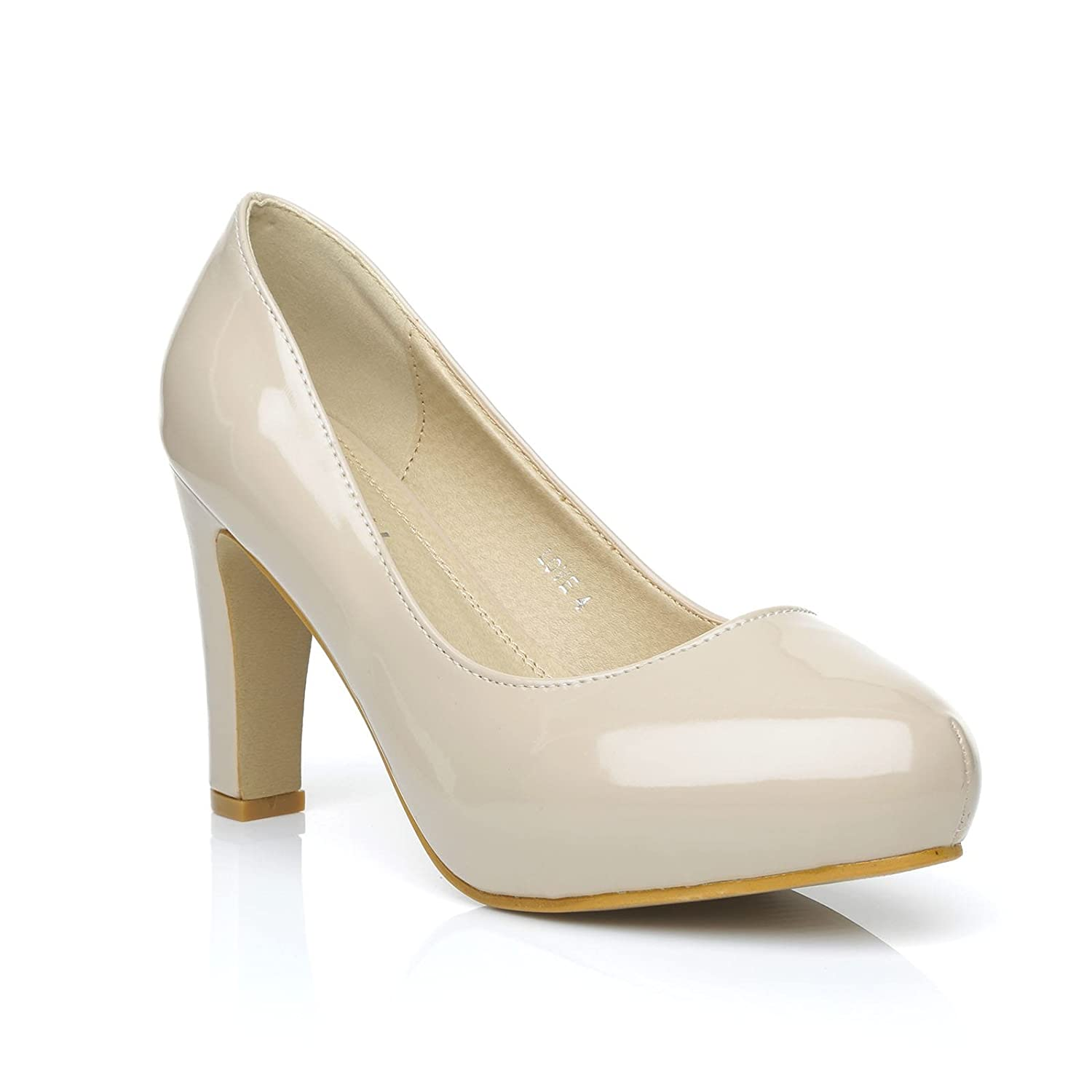 Love Nude Patent PU Leather Slim-Block High Heel Platform Court Shoes:  Amazon.co.uk: Shoes & Bags