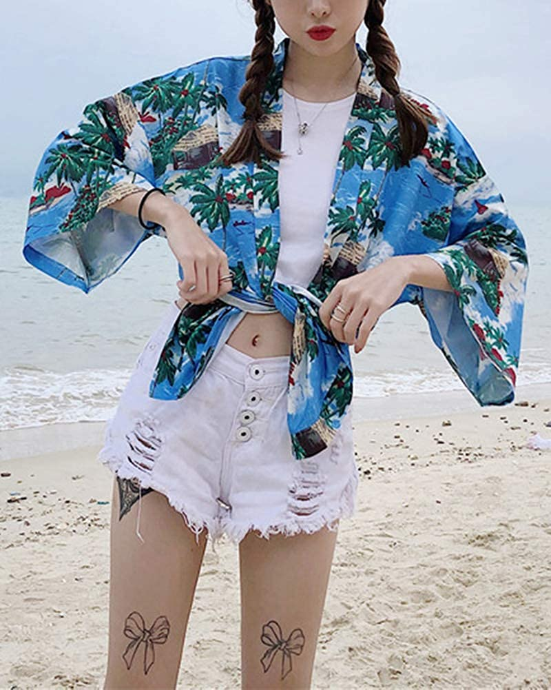 Femmes 3//4 Manches Kimono Ch/âle Retro Impression Court Veste Blouson Cardigan Plage Manteaux