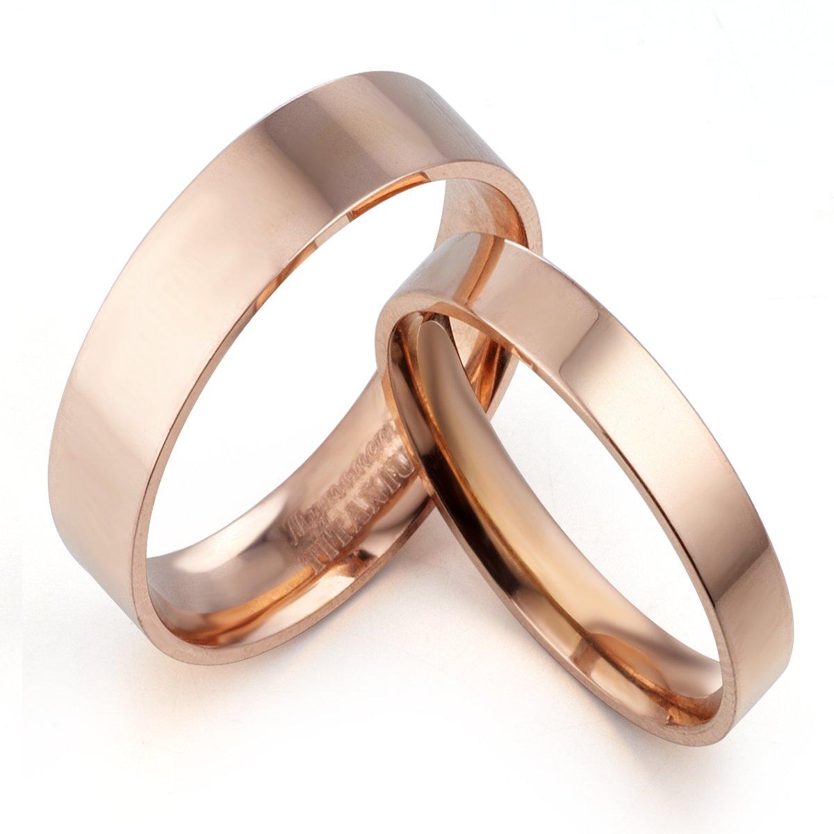 14.5 Women Ring Size 10.5 Gemini Groom /& Bride Flat Court Comfort Fit Rose Gold Titanium Wedding Rings Set Width 6mm /& 4mm Men Ring Size