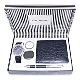 Gino Milano Men's Black Leather Band Watch with Keychain, Wallet, and Pen Gift Set (Blue)