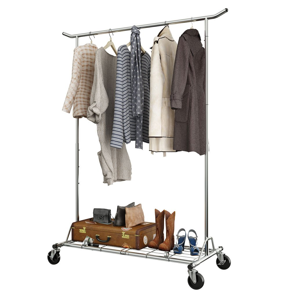 LANGRIA Heavy Duty Rolling Commercial Single Rail Clothing Garment Rack with Wheels Height Adjustable Collapsible Clothes Rack Max Load Capacity 143.5 lbs. for Bedroom Dressing Room Store (Chrome)