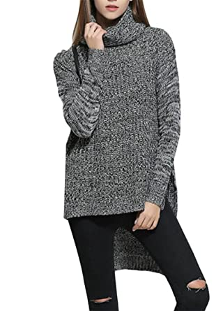 3f89d78e287 Joe Wenko Women s Long Sleeve Plus Size Turtle-Neck Asymmetric Tops Knitted  Vogue Sweaters at Amazon Women s Clothing store
