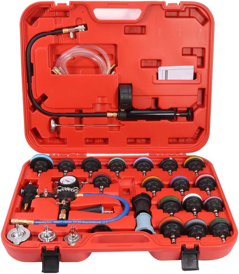 ROADFAR 28Pcs Car Water Tank Pressure Gauge Leak Detector Detection Gauge Cooling System Tester Radiator Pressure Test