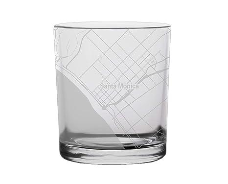 Amazon.com: Santa Monica City Map Whiskey Glass California ...