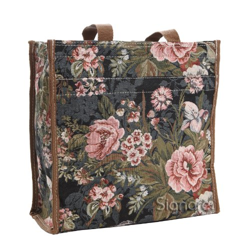 (Signare Tapestry Navy & Pink Women's Shopping Tote Bag in Peony Design (SHOP-PEO))