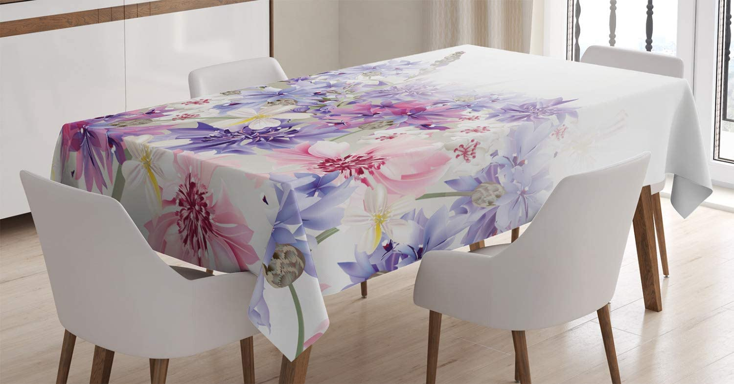 Ambesonne Lavender Tablecloth, Pastel Cornflowers Bridal Classic Design Gentle Floral Wedding Design Print, Rectangular Table Cover for Dining Room Kitchen Decor, 60