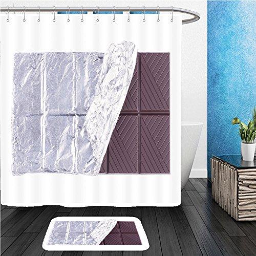 Beshowereb Bath Suit: ShowerCurtian & Doormat dark plain chocolate bar isolated on white background - Plains White Macys