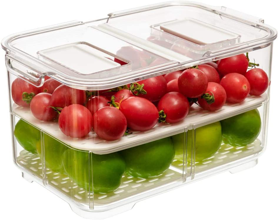 blitzlabs Fridge Food Storage Container, Fresh Produce Saver Organizer Keeper Bins Baskets with Lids and Removable Drain Tray for For RefrigeratorFreezer Cabinet Kitchen Organization