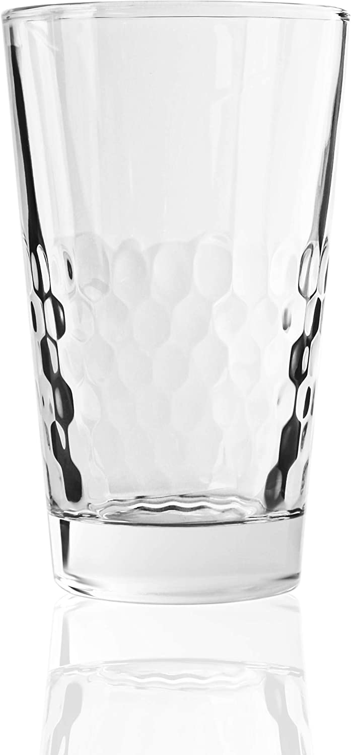 Circleware Rialto Heavy Base Highball Drinking Glasses Set of 4 Beverage Cups, Home Kitchen Tumbler Entertainment for Water, Juice, Milk, Beer, Whiskey, Vodka, Farmhouse Decor, 13.8 oz