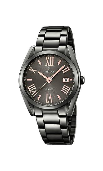 Reloj analógico Festina de Cuarzo con Esfera Negra y Pulsera Negra de Acero Inoxidable F16866/1: Amazon.es: Relojes