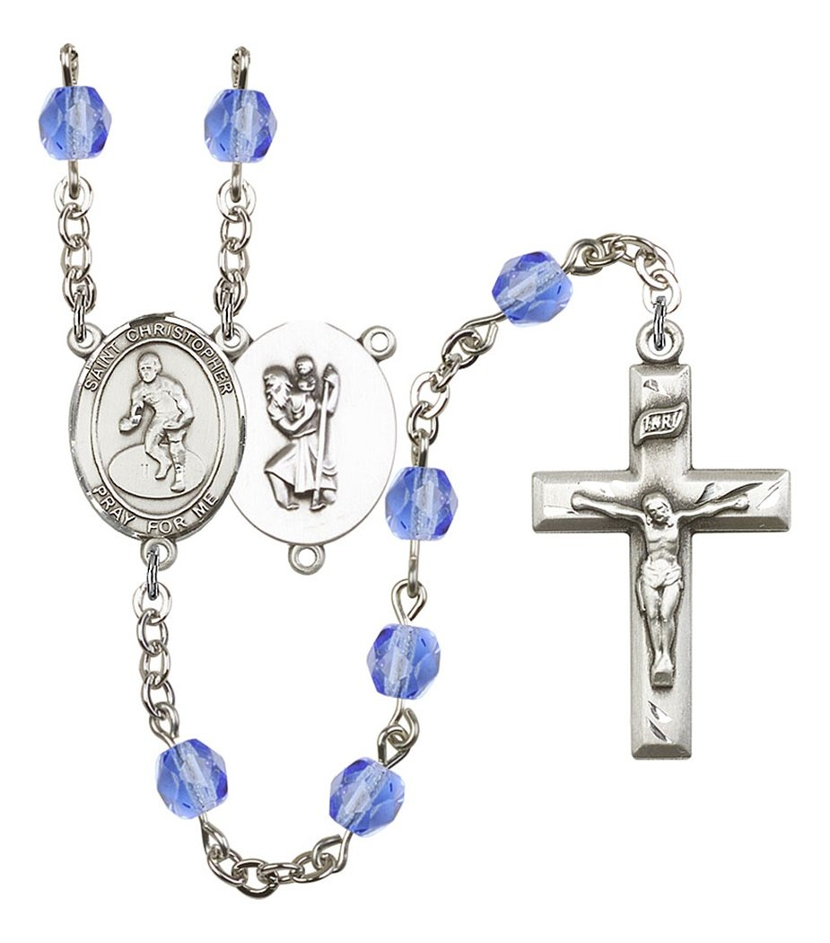 September Birth Month Prayer Bead Rosary with Saint Christopher Wrestling Centerpiece, 19 Inch