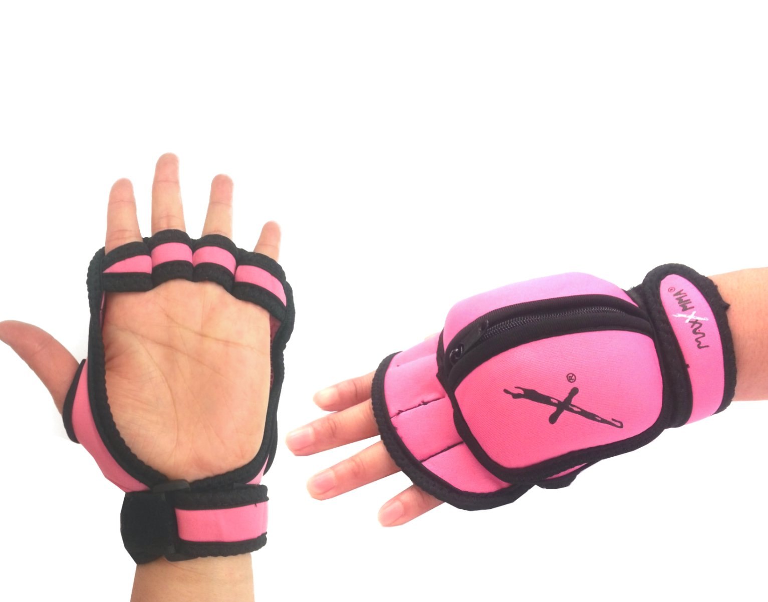 MaxxMMA Adjustable Weighted Gloves - Removable Weight 1 lb. x 2 (Pink)