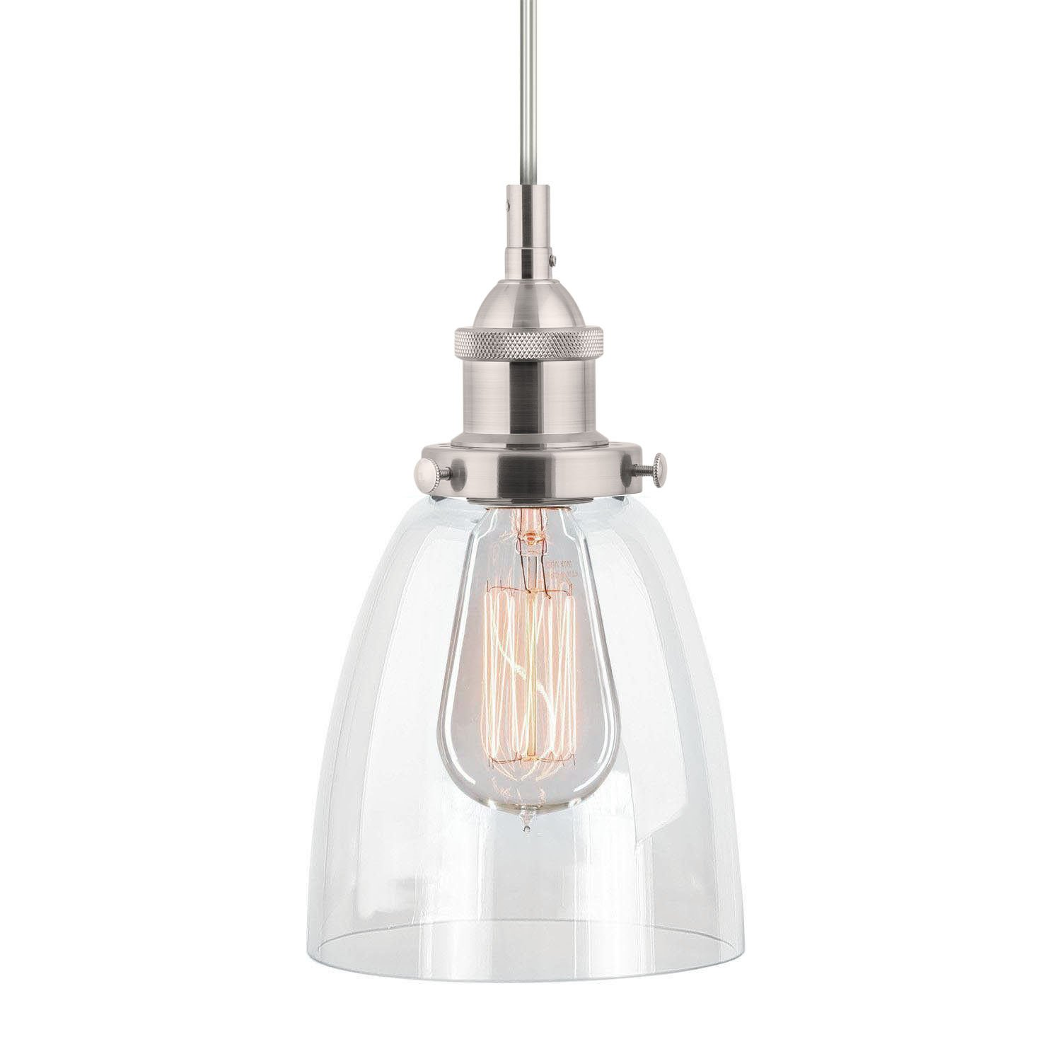 linea di liara fiorentino brushed nickel onelight industrial factory pendant lamp with clear glass shade llp281bn amazoncom