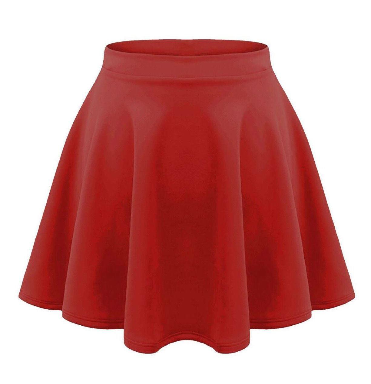 Girls New Plain High Waist Flippy Short Mini Skater Skirt ApplesBottom