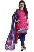 Vaamsi Women's Faux Cotton Salwar Suit Dress Material(Deep1048_Pink_Free Size)