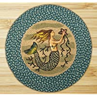 Earth Rugs RP-245 Mermaid Printed Rug, 27 Sea Blue/Ivory