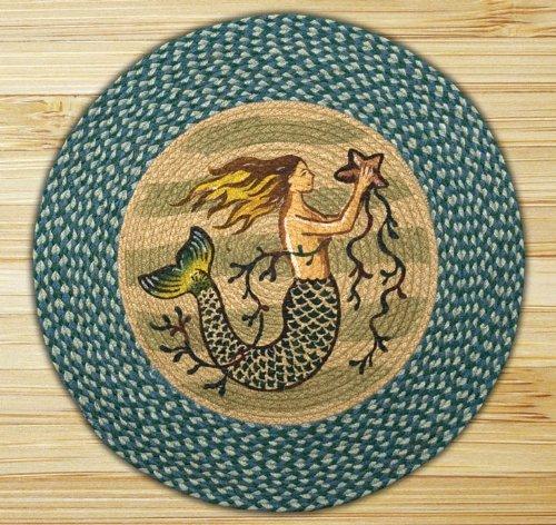 Earth Rugs RP-245 Mermaid Printed Rug, 27″Sea Blue/Ivory For Sale