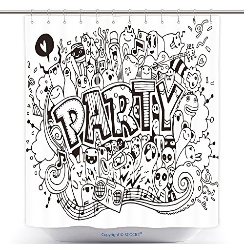 Templates Halloween Party Invitations Costume (Unique Shower Curtains Hand Drawn Doodle Party Set Sketch Icons For Invitation Flyer Poster 512037502 Polyester Bathroom Shower Curtain Set With)
