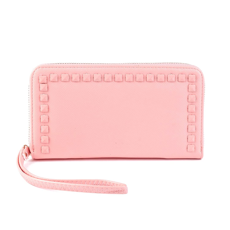 Damara Womens Wristlet Wallet Multifunction Rivet Large Zipper Purse