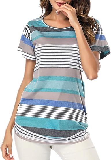 Lover-Beauty Camisa Mujer Raya Cuello Redondo Manga Larga Casual Suelto Blusa Rojo y Top Azul Jersey Stripe Shirt Verano Playa y Fiesta Top Verano Mujer: Amazon.es: Ropa y accesorios