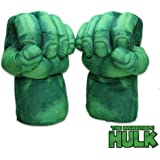 The Hulk Smash Hands Fists Big Soft Plush Gloves Pair Costume Green