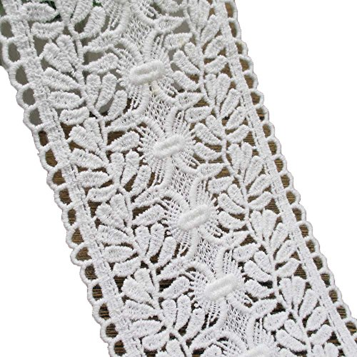 Cotton Lace Trims Venise Lace Eyelet Trimming 3-1/2 Wide For Garment and Home Decor (Eyelet Edging)