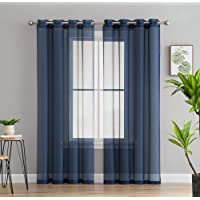 HLC.ME 2 Piece Sheer Window Curtain Grommet Panels (Navy) - 95 inch Long