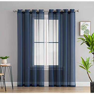 HLC.ME 2 Piece Sheer Voile Window Curtain Grommet Panels for Bedroom & Living Room (54  W x 84  L, Navy Blue)