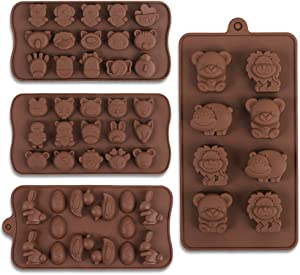 Cozihom Diverse Animal Silicone Chocolate Making Molds, Food Grade Silicone for Chocolate, Candy, Jelly, Ice Cube, Dog Treats. 4 Pcs