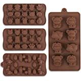 Cozihom Diverse Animal Silicone Chocolate Making Molds, Food Grade Silicone for Chocolate, Candy, Ice Cube, Dog Treats. 4 Pcs