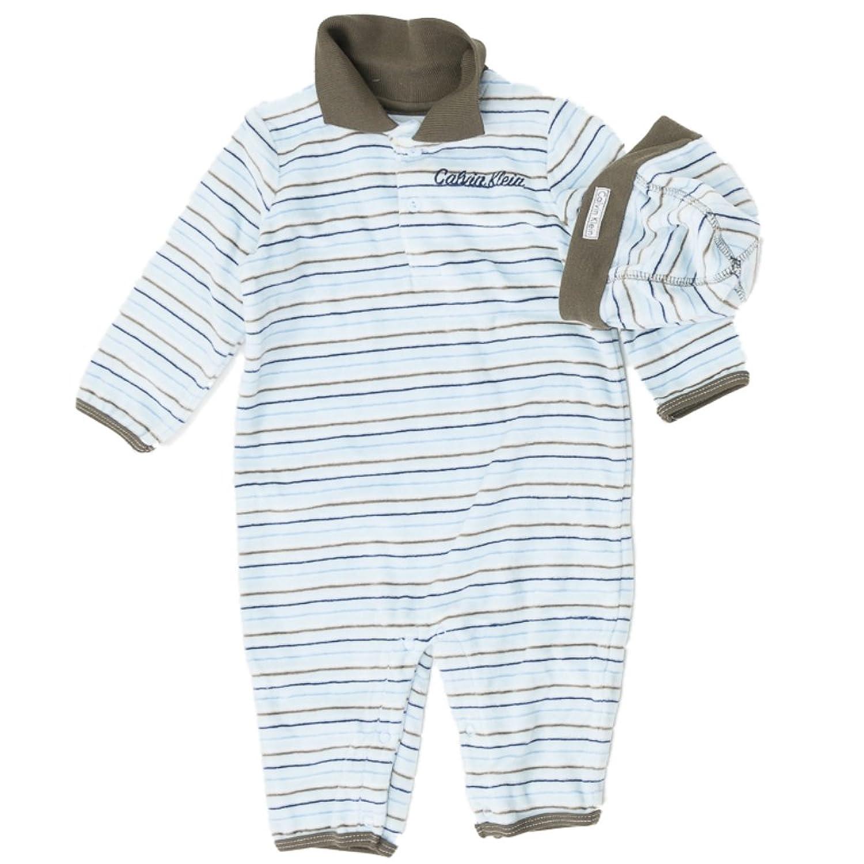 Calvin Klein Baby Jungen Samt Strampler mit Mütze hellblau braun gestreift 68-74