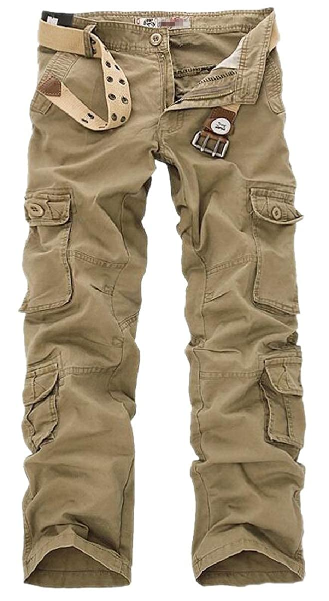 CBTLVSN Mens Casual Linen Cotton Multi Pockets Wild Big and Tall Thicken Cargo Pant