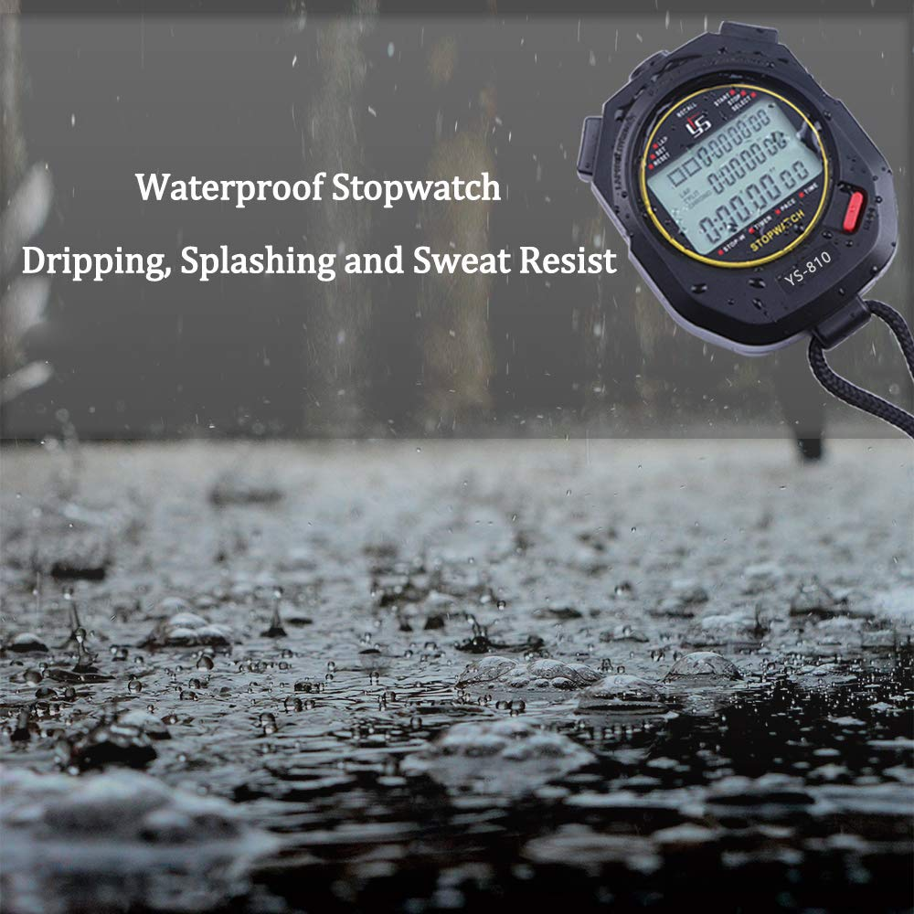 Sports Stopwatch timer 10 60 100 Lap Split Memory Digital Stopwatch 3 Rows Display Large Screen Water Resistant Battery Included Countdown Timer Pace Mode 12//24 Hour Clock Calendar with Alarm
