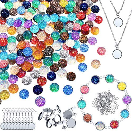 70Pcs Earring Wire Hooks Settings and 12mm Cabochon Settings for Earring Making DIY Crafts 7 Colors DROLE 140Pcs 12mm Bezels and Cabochons for Earrings