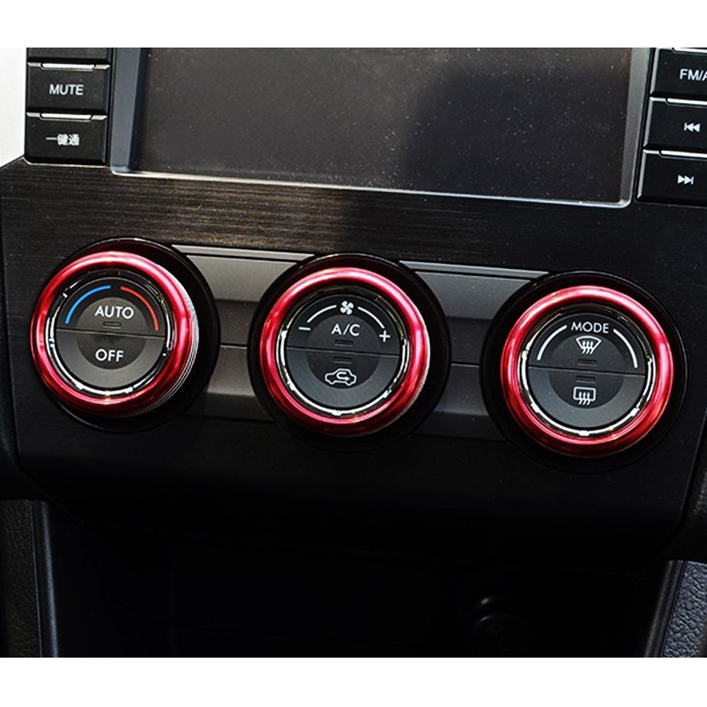 Red VORCOOL 3pcs Red Anodized Aluminum AC Climate Control Knob Ring Covers for Subaru WRX STI Impreza Forester XV Crosstrek