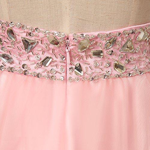Bridal_Mall - Vestido - Escotado por detrás - Sin mangas - para mujer rosa 40